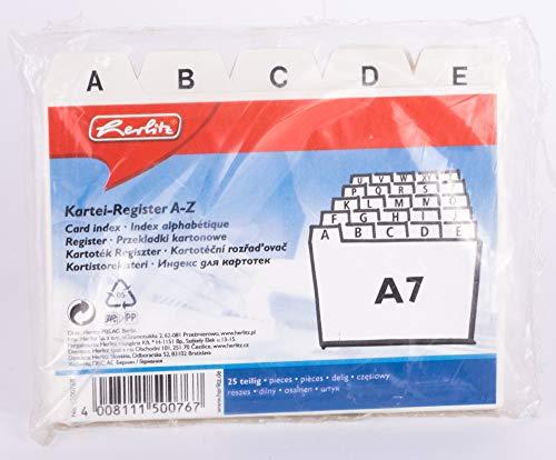 "Herlitz 1500768 Karteiregister A7\""A-Z\"", PP, 25 teilig"