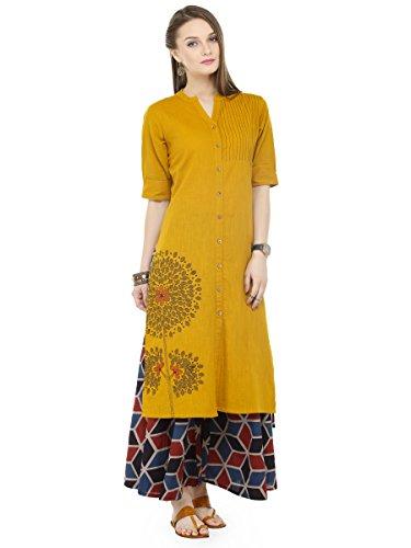 Varanga Mustard Cotton Blend Embroidery Kurta With...