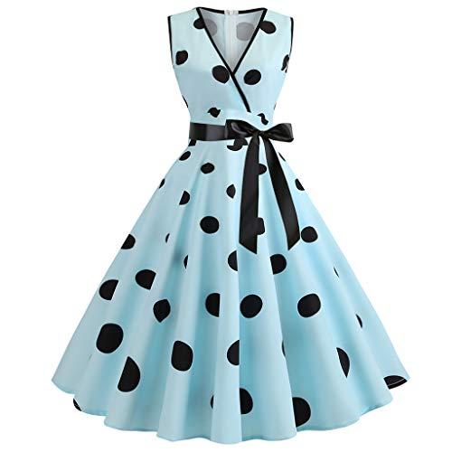 Gruppe Kostüm 50er Jahre - AIni Damen Vintage ÄRmelloses Elegant 50er Jahre Petticoat Kleider Gepunkte Rockabilly Kleider Cocktailkleider Partykleid Ballkleid Festkleid