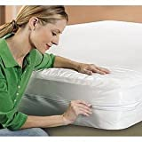Zippered-Bedbug-anti-allergy-dust-mite-proof-mattress-encasement-protector-cover-all-sizes-Small-Double-48x75x9-WHITE