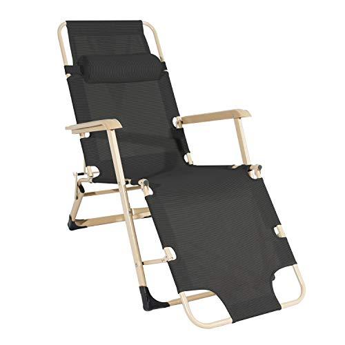 Dlandhome poltrona pieghevole reclinabile sdraio da giardino esterno sedie a gravità zero regolabili sedia pieghevole da spiaggia per mare piscina