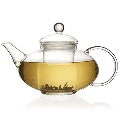 Le thé de Fabricants de Londres 1400ml Théière en verre avec infuseur en verre avec couvercle amélioré
