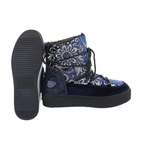 Stivaletti Allacciati Scarpe Da Donna Stringate Allacciate Stringhe Imbottite Calde Stivaletti Ital-design Blu Scuro H-1-1