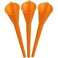 Larcele 3 Pieza Plástico Cuello Largo Embudo para Aceite Combustible Coche Moto 10 Inch/26 cm JYLD-01