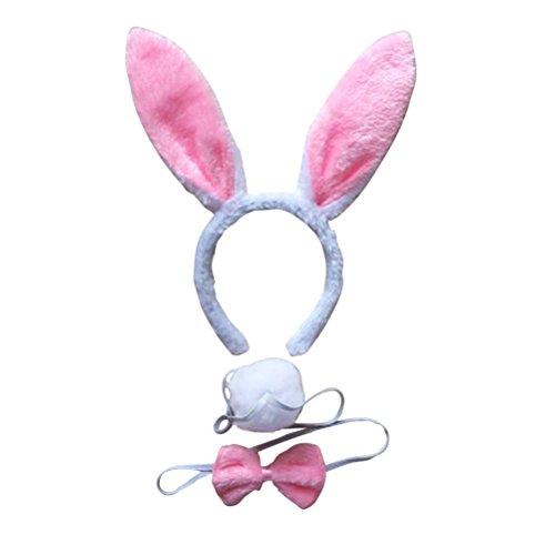 LUOEM Bunny Kostüm-Set mit Haarreif Fliege Schwanz für Kinder Erwachsene Party Cosplay Weihnachten Kostüm 3 Stücke (Weiß Rosa)
