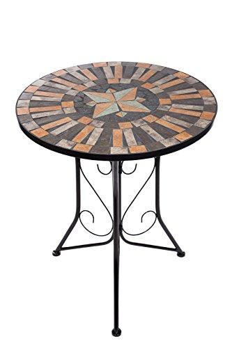 Hochwertiger aufwendig gearbeiteter Mosaik Tisch NA1514-B041 stabiler GartenTisch Balkontisch, Bistrotisch Schweres beschichtetes Metall, Wetterfest, Tisch
