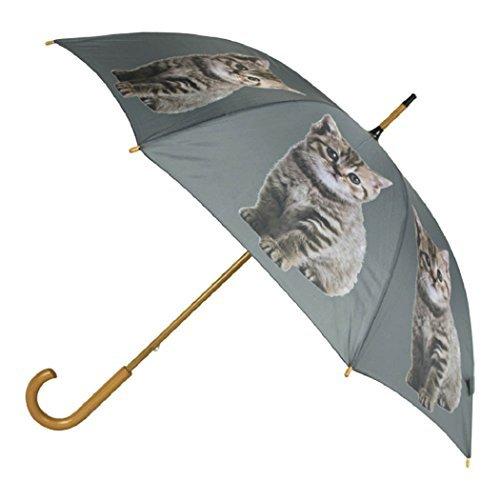 Mars & More paraguas Tiger gato 105cm (Madera: eucalipto, plástico: poliéster, estructura: acero)