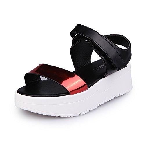 Femmes coréennes avec des chaussures à semelle épaisse/Étudiant Velcro chaussures B