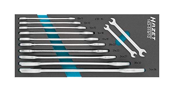 HAZET Doppel-Maulschlüssel Satz Außen-Sechskant Profil 12-teilig 163-519//12