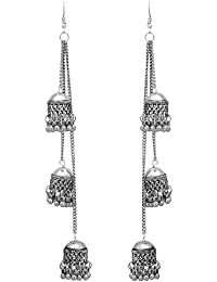 Shreyadzines Designer Afghani Kashmiri Tribal Oxidized Dangle Long Earrings for Women and Girls
