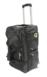 "BLACK Wheeled Holdall 24"" Medium Duffle Bag Travel Weekend Cabin Luggage Telescopic Handle AD705"