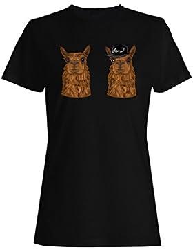 Alpaca, hipster, carácter, divertido, sonrisa camiseta de las mujeres g679f