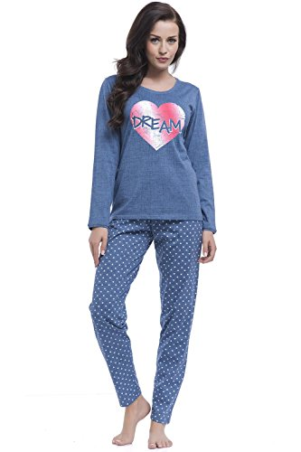 Dn-Nightwear PM.8043 Confortable Joli Pyjama De Femmes, Manches Longues – Fabriqué En UE Bleu Marine