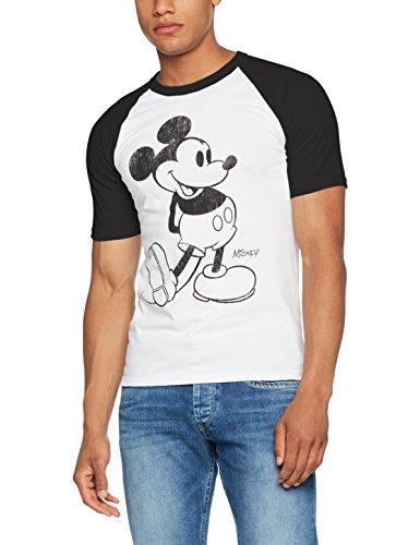 Disney Herren Regular Fit T-Shirt Gr. Medium, Mehrfarbig (Weiß/Schwarz)