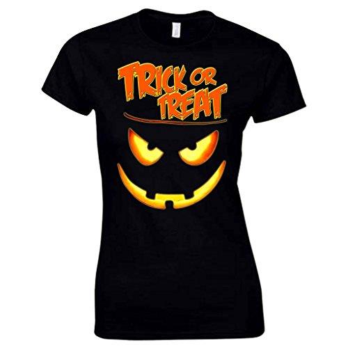 Damen 'Trick or Treat' Erschreckendes Halloween Kürbis Gesicht T Shirt Schwarz XXL -