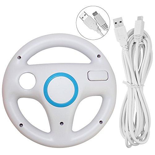 Lenkrad für Wii U und Wii mit Ladekabel, AFUNTA Racing Wheel Case für Mario Kart 8 Spiele, mit 10ft USB Ladekabel - Weiß Wii-remote-kabel