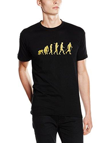 'Shirtzshop-Maglietta Gold Edition Nordic Walking camminate Gehen escursioni, Unisex, T-Shirt Gold Edition Nordic Walking Laufen Gehen Wandern, nero, XXXL