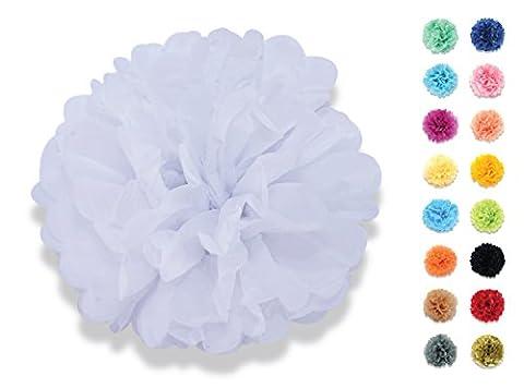 YOKARTA 12er Set Seidenpapier Deko-Pompoms 20 cm weiß | Schöne Hochzeit-Deko, Geburtstag-Deko, Baby Shower-Deko, Hochzeitsauto-Deko, Garten Party-Deko, Wohnung-Deko | verschiedene Farben