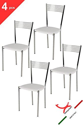 Tommychairs - set 4 sedie moderne e di design elegance per cucina bar salotti e sala da pranzo, con robusta struttura in acciaio cromato e seduta imbottita e rivestita in ecopelle colore bianco