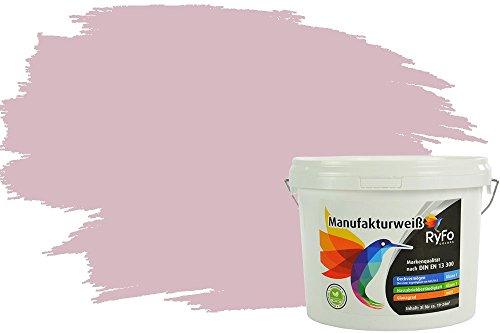 RyFo Colors Bunte Wandfarbe Manufakturweiß Rose 3l - weitere Rot Farbtöne und Größen erhältlich, Deckkraft Klasse 1, Nassabrieb Klasse 1