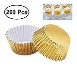 LEXPON 200 Stück Verdickte Aluminium Folie Cupcake Liners Mini Kuchen Muffin Formen zum Backen (Light Golden)