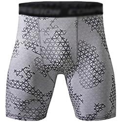 YiJee Hombre Secado Rápido Fitness Deporte Pantalones Cortos Aptitud Jogging Compresión 2Como la Imagen S