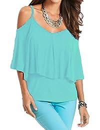 121b98eb1f1e Hsug Donna Moda Sling Maniche Corte T-Shirt Casual Spalle Scoperte  Magliette Traspirante Fasciante Tops