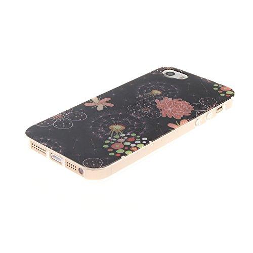 """Apple iphone 5/5s SE 4.0""""hülle,MCHSHOP Ultra Slim Skin Gel Schlank TPU Case Schutzhülle Silikon Silicone Schutzhülle Case Back Cover für Apple iphone 5/5s SE 4.0"""" - 1 Kostenlose Stylus Pen (Lovely Pan Colorful Flowers in Black"""