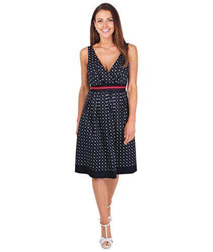 4663-NVY-10: KRISP Damen Vintage Kleid mit Libellenmuster -