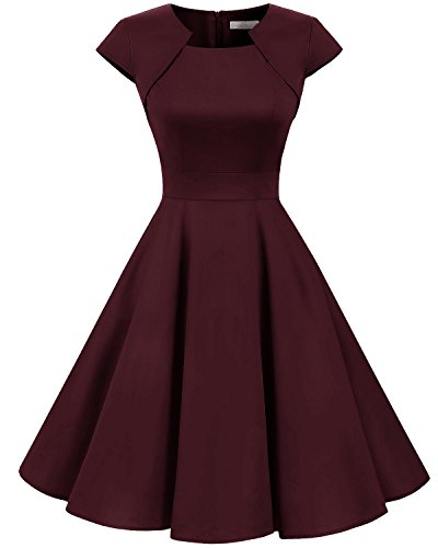 Homrain Damen 50er Vintage Retro Kleid Party Kurzarm Rockabilly Cocktail Abendkleider Burgundy L