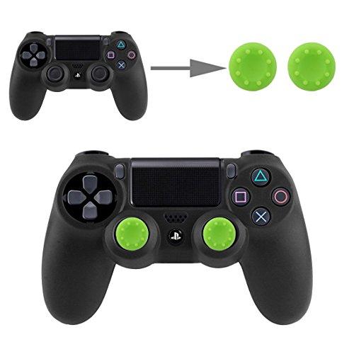 Controller Aufsätze Thumbsticks Analog Stick Kappen Silikon Schutzkappen Control Sticks für DualShock Gamepad Sony Playstation PS4 Pro, PS4, PS3, PS2, Xbox One X, Xbox 360, Nintendo Switch in Grün