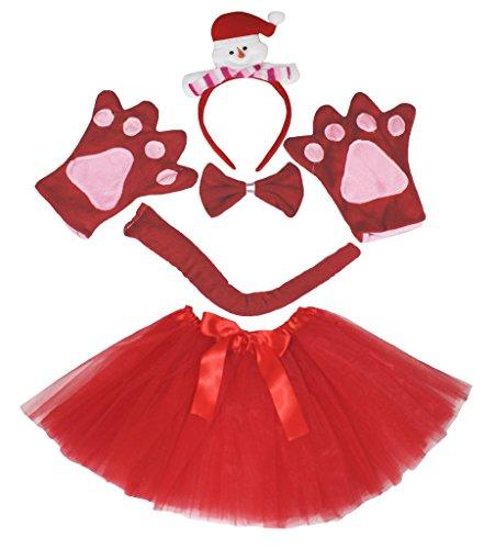 Petitebelle Snowman Headband Bowtie Tail Glove Red Tutu 5pc Costume for Girl (One Size) (Schneemann Kostüm Tutu)