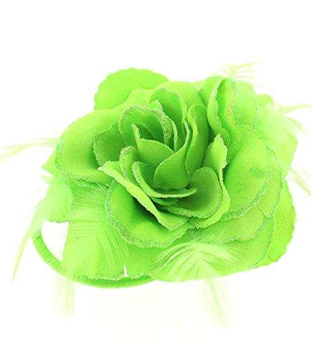 ZAC de Alter Ego® paillettes bord Tissu Fleur Rose avec Plumes Sur Pince à cheveux et élastique