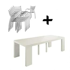 Table console extensible Shannon + chaises Osis - Blanc - Lot de 12