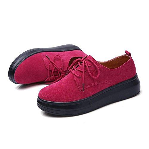 JRenok Mocassins Femme Loisir Printemps Chaussures Suede Casuel Confort Plates Loafers Style de Mode Antidérapante 35-40 Rouge