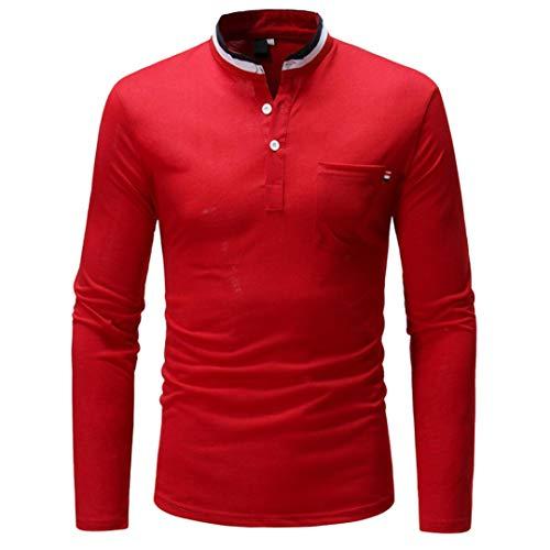 MRULIC Herren Stehkragen Button Sweatshirt Langarmshirt Hemd mit Rundhalsausschnitt Basic Slim(Rot,EU-52/CN-3XL)