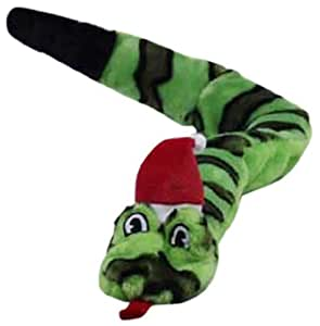 Kyjen Invincibles Snake 6-Squeaker with Santa Hat, Green