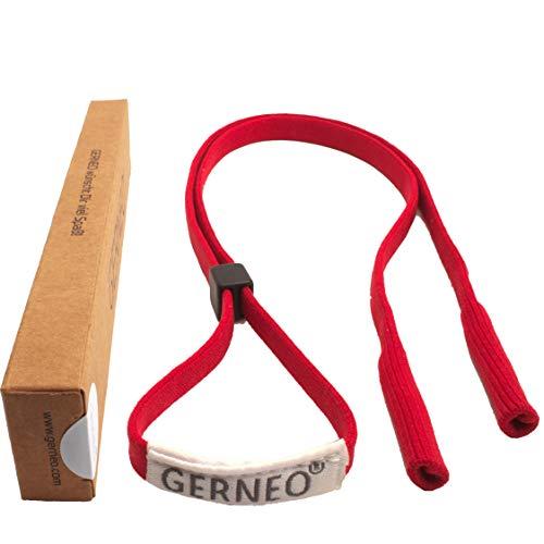 GERNEO - DAS ORIGINAL - Premium Sportbrillenband & Brillenband Sport für Sportbrillen, Sonnenbrillen, Lesebrillen - in rot - wasserfest