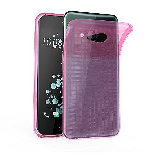 Cadorabo Hülle für HTC U Play - Hülle in TRANSPARENT PINK – Handyhülle aus TPU Silikon im Ultra Slim 'AIR' Design - Silikonhülle Schutzhülle Soft Back Cover Case Bumper