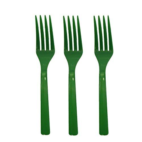 Party Essentials mittelschwere Hartschale Gabeln aus Kunststoff, kelly green, 1600