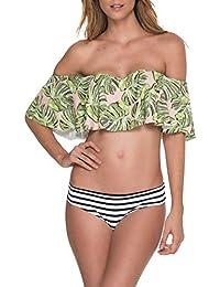 JINSH-Bikini con Estampado de Hojas de Mujer Establece Traje de baño de Dos Piezas