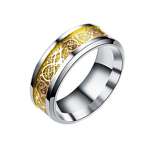 Männer Band Hochzeit (Mr.Van Herren Mode Drache Muster Ringe für Männer Hochzeit Band Jubiläumsfeier rostfreier Stahl Ring 8mm Gold)