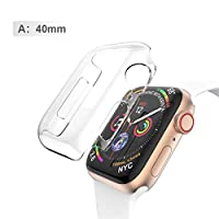 LiféUP Silicone Hard Case For Apple Watch Series 4 PC Protector Cases For Iwatch All-Around Cover Ultra-Thin Clear Frame