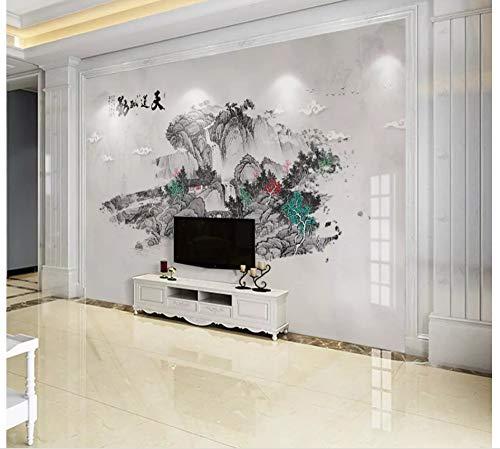 Apoart 3D Wandtapete Chinesische Unbedeutende Abstrakte Tintenlandschaftsmarmorwand 200Cmx140Cm