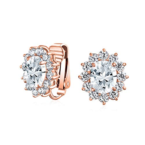 Bridal Oval Cubic Zirconia Halo Crown CZ Stud Statement Prom Holiday Clip On Earrings For Women Rose Gold Plated Brass