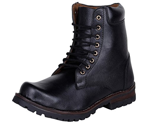 Kraasa Men's Black Synthetic Leather Boots- 8