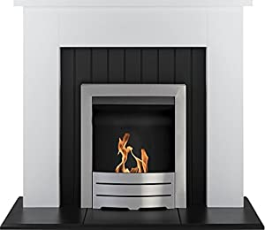 Adam Chessington Fireplace Suite in White with Colorado Bio Ethanol Fire in Brushed Steel, 48 Inch