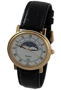 GB11111 - Bernex Gents Gold Plated Wrist Watch, Moonphase, Quartz, White Roman Dial, With Date