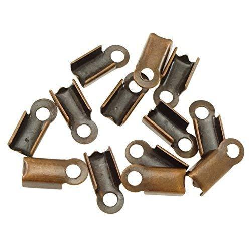 50 Klemmbleche 9x4mm als Schmuck Verbinder zwischen Draht/Band und Verschluss - Farbe kupfer