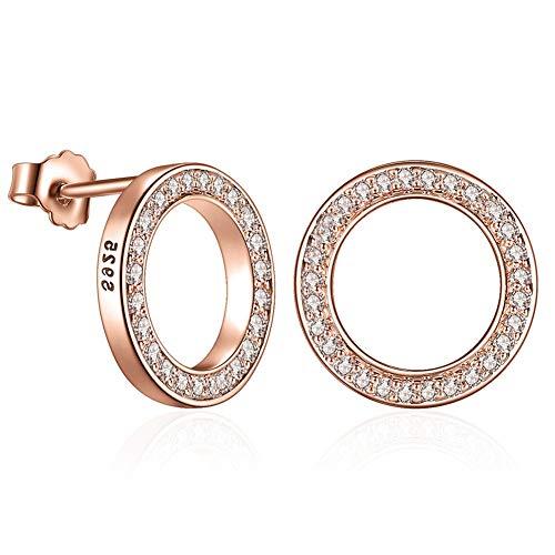Frau 925er Sterling Silber Zucht Ohrringe, Klein Kreis Rose Gold Überzogen Ohrringe mit Zirkonia Simulierter Diamant für Lady Girls (Earrings 1)